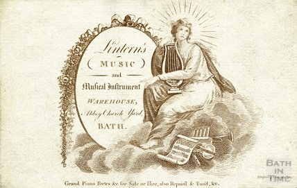 Lintern's Music & Musical Instrument Warehouse Trade Card, Bath, c.1800