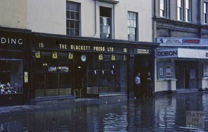 Bath Floods, Odeon Cinema and Blackett Press, Southgate Street, 1963