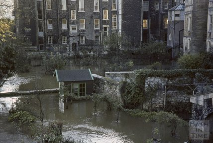 Bath Floods, behind Great Pulteney Street and Johnstone Street, 1963
