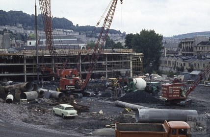 The Podium car park under construction, Walcot Street, 1971