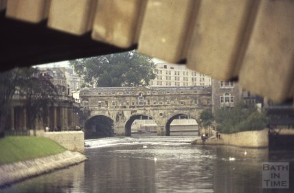 View of Pulteney Bridge from underneath North Parade Bridge, 1972