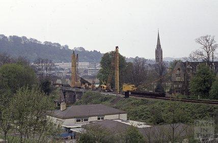 Drilling at new Railway Bridge, Pulteney Road, 1974
