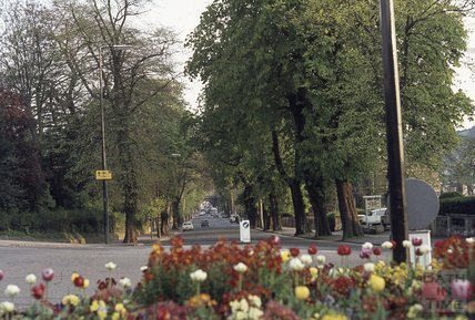 View down Pulteney Road towards railway bridge, 1974