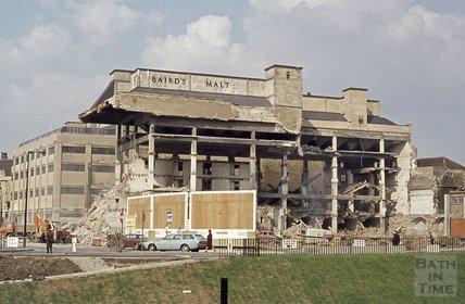 Demolition of Baird's Malt house, Broad Quay, 1974