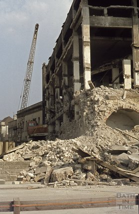 Demolition of Baird's Malt house, Broad Quay, 1974