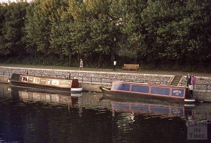 Narrow boats on the River Avon, close to Pulteney Bridge, 1974