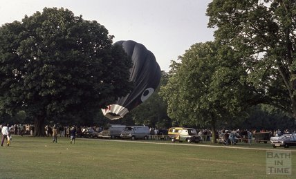A hot air balloon being inflated at Royal Victoria Park, 1974
