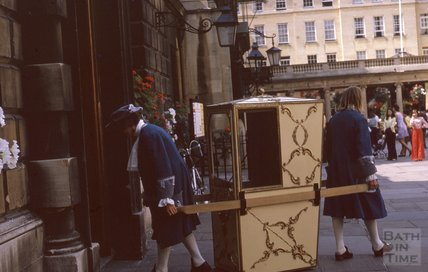Sedan Chair entering / leaving the Pump Room, 1974