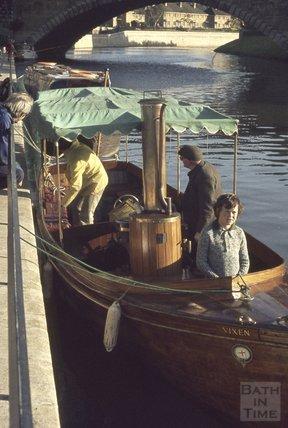 Steam boat Vixen on the River Avon close to Pulteney Weir, 1974