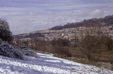 View from opposite Folly Bridge, Kennet and Avon, Bathampton 1975