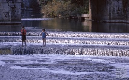 Fishing on the new Pulteney Weir, 1975