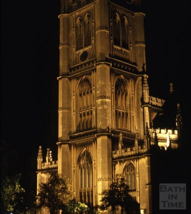 Floodlit St Mary's Church, Bathwick at night, 1975