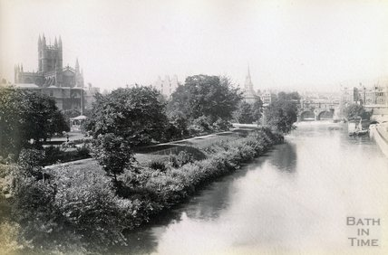 View of Bath Abbey and Parade Gardens from North Parade Bridge c.1890