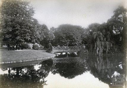 Bridge over the lake in Royal Victoria Park, Bath c.1890