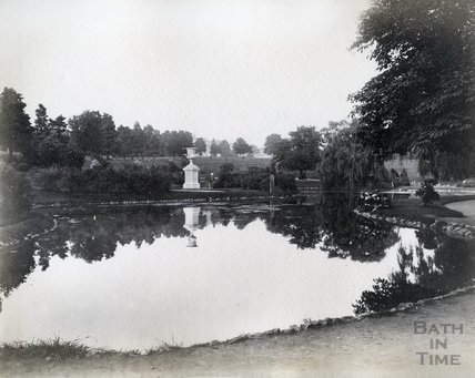 Lake and stone urn, Royal Victoria Park, Bath c.1890s