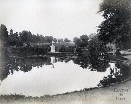 Lake and stone urn, Royal Victoria Park, Bath c.1890s