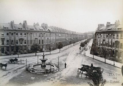 Laura Place, Fountain and Great Pulteney Street, Bath c.1890