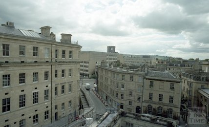 View of the Gainsborough Hotel from the tower crane of the construction site of Thermae Bath Spa, 31 May 2001