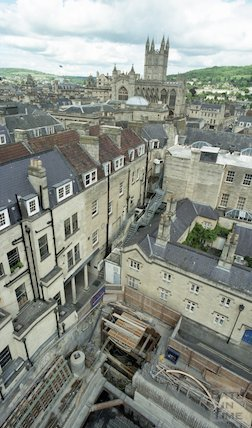 View from the tower crane of the construction site of Thermae Bath Spa, 31 May 2001