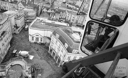 View from the tower crane of the construction site of Thermae Bath Spa, 2 August 2001