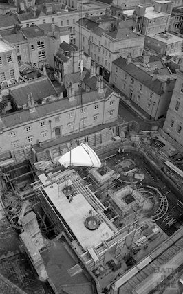 An overhead view of the Minerva Bath under construction for Thermae Bath Spa, 1 September 2001