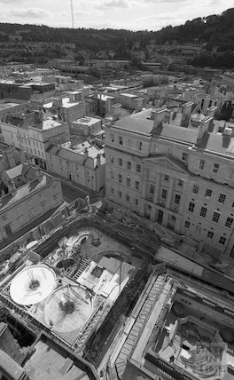Looking down from the tower crane on the Minerva Bath whilst it is under construction for Thermae Bath Spa, 1 September 2001