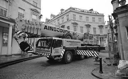 Tower crane construction for the Thermae Bath Spa development, 17 March 2001