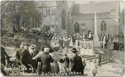 The dedication of the War Memorial at St Johns Church, Northend, Batheaston, 1920