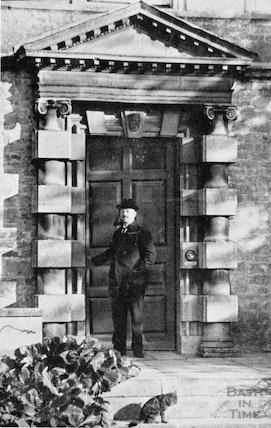 William Blathwayt and the doorway to his home, Eagle House, Northend, Batheaston, c.1950s