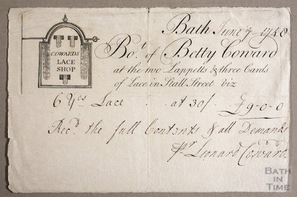 Trade Card / bill for Coward's Lace Shop, Stall Street, June 7, 1748
