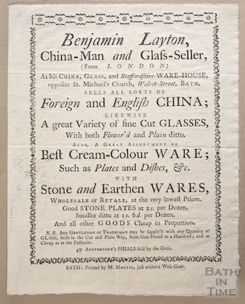 Trade Card for Benjamin Layton, China Man and Glass Seller, Walcot Street Bath, c.1745