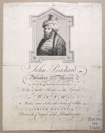 Trade Card for John Pritchard, Weaver and Mercer at the Turk's Head in the Grove, Bath, 1758-62