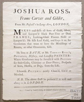 Trade Card for Joshua Ross, Frame Carver and Gilder, c.1750s