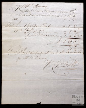 Bill from Evans, Thomas & Company, Wine Merchants in Orange Court, Orange Grove, Bath 1748