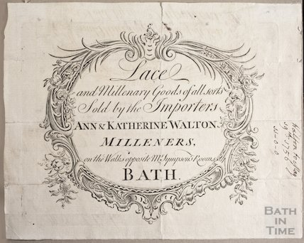 Trade Card for Anne & Katherine Walton, Milliners, Bath 1756