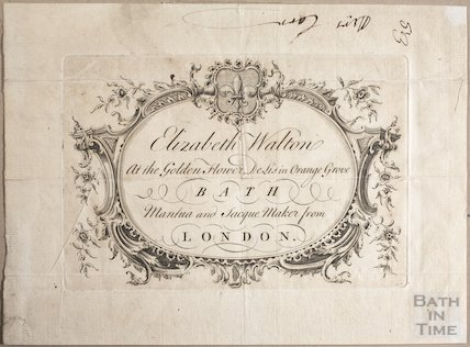 Trade Card for Elizabeth Walton, at the Golden Flower De Lis in Orange Grove, Bath, 1758