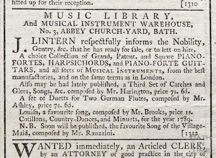 Music Library and Musical Instrument Warehouse, J Lintern, No 3 Abbey Church Yard, Bath October 1788
