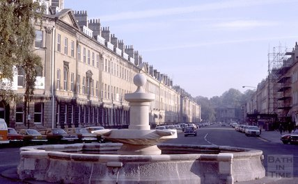 The fountain at Laura Place, Bathwick, Oct 1978