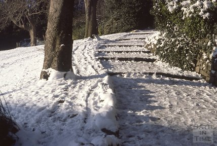 Hedgemead Park in snow, Feb 1979