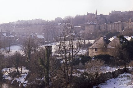 Development site in Walcot, viewed from Cleveland Bridge, in snow, Feb 1979