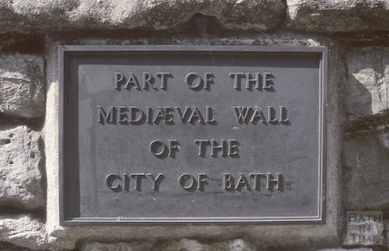 Plaque on the City Wall, Upper Borough Walls, plaque, May 1979