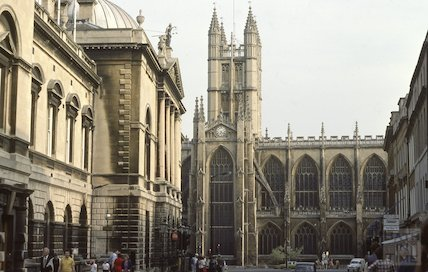 Guildhall & Bath Abbey, June 1980