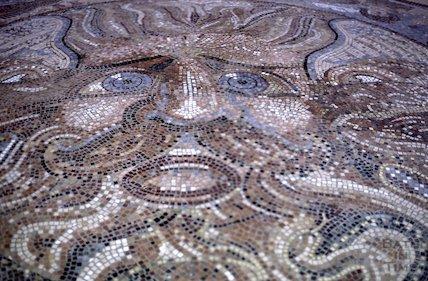 The mosaic centrepiece of the Beazer Maze, Bath, June 1985