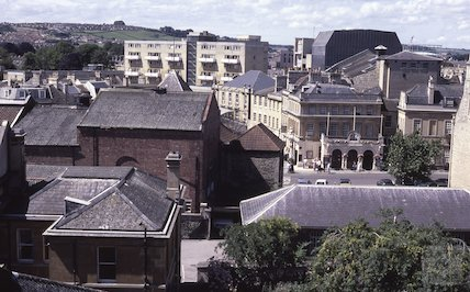 View to Theatre Royal from Owen Owen department store, Union Street, Aug 1985