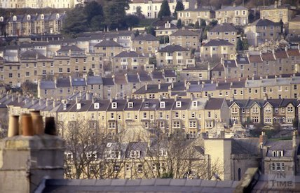 View from Warminster Road, Bathwick, Jan 1988