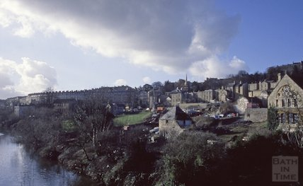 View of the rear of Walcot Street from Cleveland Bridge, 1990