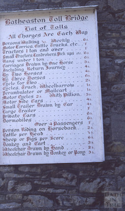 Toll board at Batheaston end of Bathampton Toll Bridge, 1990
