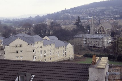 Walcot Gate development from the roof of St Swithin's Church, Walcot, 1992