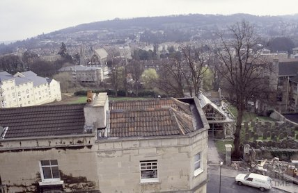 Walcot Burial Ground and Walcot Gate from the roof of St Swithin's Church, Walcot, 1992