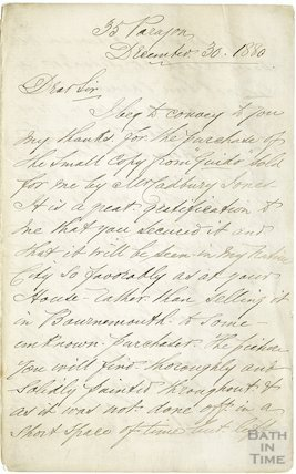 Manuscript letter from Frederick Fortt, December 30th 1880
